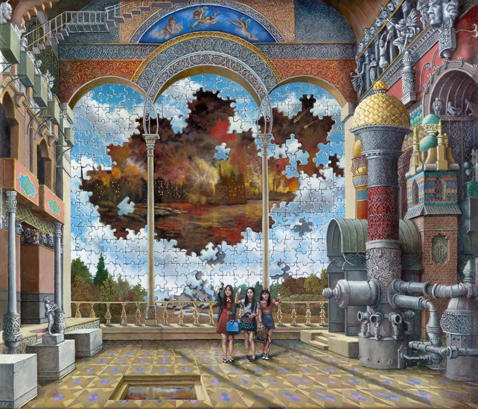 "This oil painting by Howard Fox is called ""Last Selfie, As the End is Revealed."" In the painting, there are three young women dressed in trendy dresses and mini-skirts. They look tiny as they're standing in a large, ornate palace ballroom. They smile and pose for a selfie. The wall behind them is a giant-sized puzzle of beautiful blue sky and puffy white clouds. But unfortunately, this puzzle is incomplete - there are several missing pieces, forming a large patch in the middle. In this empty patch, a skyline of dark buildings and stormy sky is revealed. It appears these buildings are bursting into red, yellow and orange flames. The sky above fills with thick, black smoke."