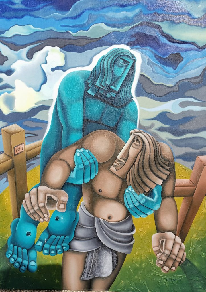 Painting of a blue, God-like figure lifting a man from the ground. They are in a large grassy field with two wooden crucifixion crosses behind them. The sky in the background is a deep stormy blue with wispy white-grey clouds.